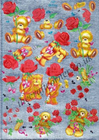 Bears with Roses 3d Die Cut Decoupage Sheet From Dufex